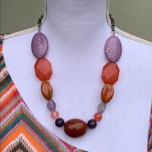 Pink, Purple and Orange Stone Necklace